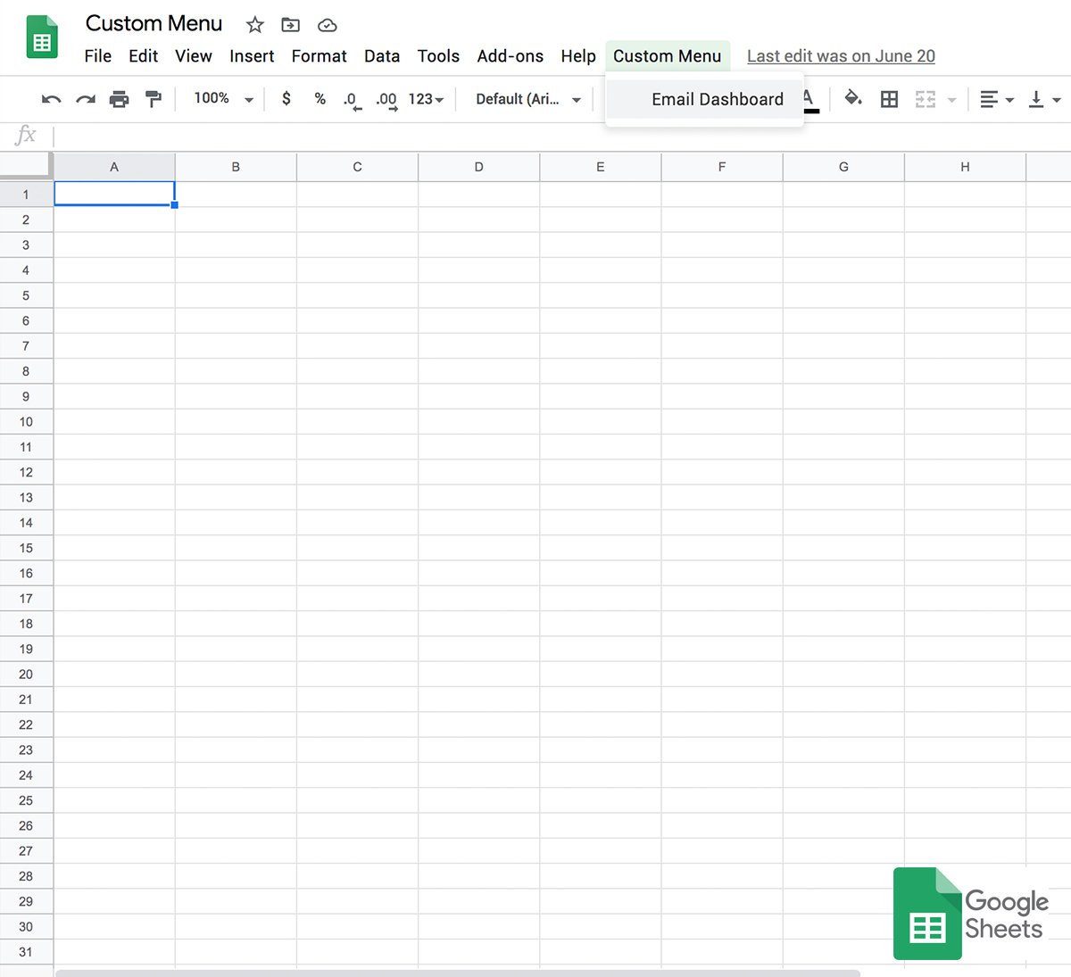 custom menu google sheets